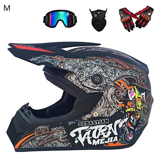 True-Ying Herren Motocross Helm, 4 Season Motocross Full Helm, Road Helm mit Universal Eyewear Handschuhen Geeignet für Erwachsene und Kinder