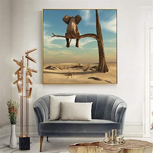 Elefante divertido moderno minimalista lienzo pintura arte de la pared cuadros carteles e impresiones decoración para el hogar decoración de la habitación de los niños 30x30 cm