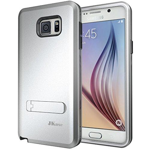 OnePlus Two Hülle, JKase Canvas X 3 Layer Rüstung Case Hülle TPU Innencase mit Seitenständer für Samsung Galaxy Note 5 (Silber)