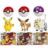 3Pcs Pokemon Pokeball Eevee Pikachu Solgale Ball Figuras De Acción, Figura De Anime Monstruo De Bolsillo Variante Modelo Set PVC Niños Juguetes Regalo