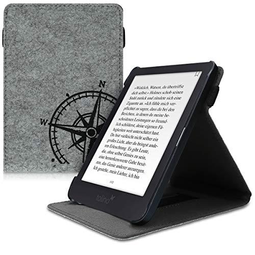 kwmobile Hülle kompatibel mit Tolino Shine 3 - Schlaufe Ständer - e-Reader Schutzhülle - Kompass Vintage Schwarz Hellgrau