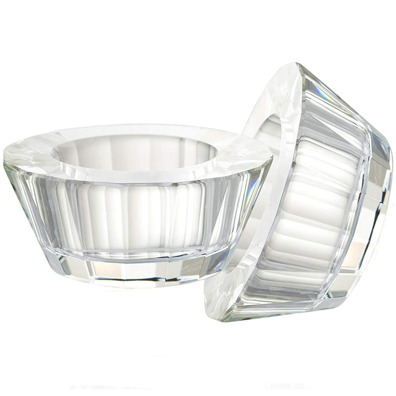 DONOUCLS Crystal Tealight Holder Candlestick Christmas Decorations for Home Party Dinner Hand-Cut 2.6'' X 1.2'' Clear
