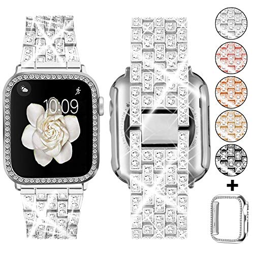 Supoix Compatible with Apple Watch Band 38mm 40mm 42mm 44mm + Case, Women Jewelry Bling Diamond Metal Strap & Soft PC Bumper Protective Case for iWatch Series 5/4/3/2/1(Silver)
