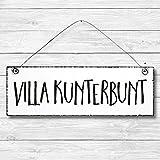 Villa Kunterbunt - Dekoschild Türschild Wandschild Holz
