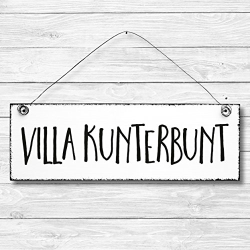 Villa Kunterbunt - Dekoschild Türschild Wandschild Holz Deko Schild 10x30cm Holzdeko Holzbild Deko Schild Geschenk Mitbringsel Geburtstag Hochzeit Weihnachten
