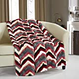 """Chic Home Orna Throw Blanket New Faux Fur Collection Cozy Super Soft Ultra Plush Micromink Backing Decorative Striped Chevron Design50"""" x 60"""" 50 x 60 Red"""