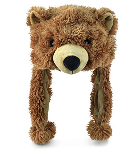 DolliBu Brown Grizzly Bear Plush Hat - Super Soft Warm Hat With Ear Flaps, Funny Plush Party Crazy Hat, Stuffed Animal Bear Halloween Costume Toy Hat, Cozy Fleece Winter Hat For Kids & Teens -One Size
