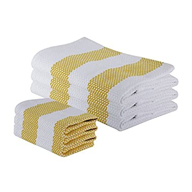 """The Weaver's Blend Set of 3 Kitchen Towels + 3 Dish Cloths, Basket Weave, 100% Cotton, Absorbent, Size 28""""x18"""" and 12'x12"""", Yellow Stripe,Kitchen Towels and Dish Cloths by"""