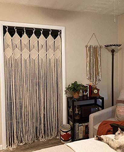 """Handmade Boho Curtain with Metal Rings Perfect for Bedroom Doorways Room Office Divider Boho Style Bohemian Macrame Window Curtains, 43.3"""" W X 82.6"""" L"""