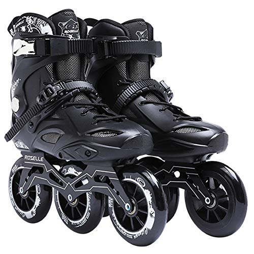 Inline Skates for Adults Skating 3X110MM Wheels High Performance Inline Speed Skating for Kids Safer and Comfortable,Black,38