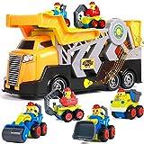 Tacobear 5 en 1 Camión de Construcción Coches Juguete Camión de Transporte Grandes con Sonido Pequeños Topadora Excavadora Camiones de Juguetes Regalos para Niños Niñas