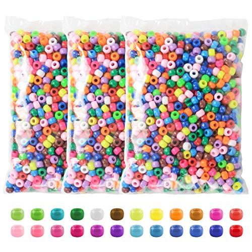 Pony Beads, 3600 Pcs 6x9mm Multicolor Plastic Craft Beads Set, Bulk Rainbow Hair...