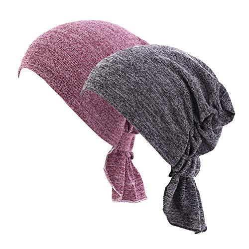 Women's Cotton Headwear Chemo Beanie Cap for Cancer Patients Hair Loss (Bean Paste&Gray)