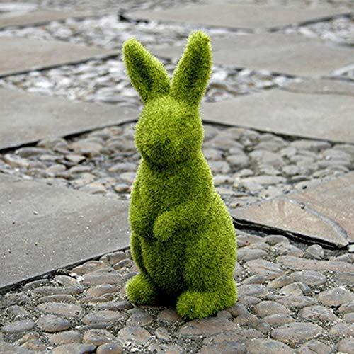 Adornos de flocado, resina de Pascua, decoración de conejo, esculturas de resina flocado conejo decoración verde falso musgo conejito figuras para jardines, escritorios y patios traseros