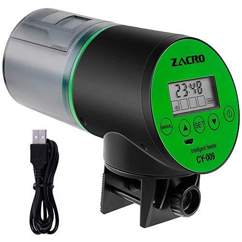 Zacro Alimentatore Automatico di Pesce Dosatore Mangime Automatico per Pesci con Display LCD e Impostazione del Tempo di Alimentazione, Adatto per Acq