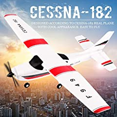 Designed according to Cessna-182 real plane,with cool appearance. EPP composite material, high flexibility, excellent recovery,and not easy to break 3 coreless motors combination,stronger driving power Easy operation,suitable for beginners and interm...