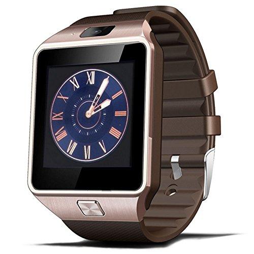 Smartwatch Bluetooth GSM SIM con fotocamera chiamate Smart Watch da polso telefono TF Card Slot Sleep Monitor Pedometro SMS Notifica Supporto Android Smartphone iOS Sistema (Oro con Cinturino Marrone)