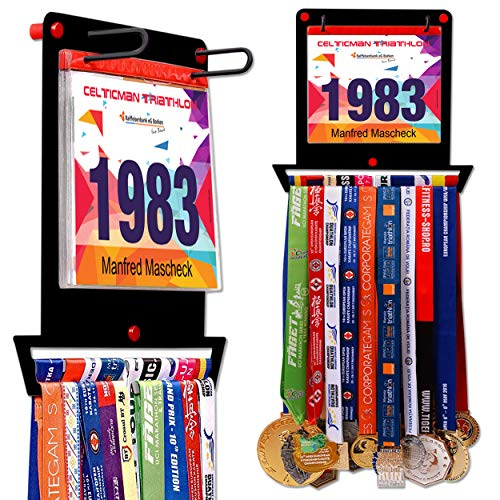 Medaillen-Aufhänger für Läufer | Race-Lätzchenhalter + Medaillenständer | quadratische Form | komplettes Bündel aus Stahl für Medaillen und Lätzchenhalter für über 40 Medaillen und 100 Läufer-Lätzchen