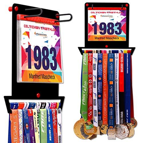 VICTORY HANGERS Medal Hanger for Runners | Race Bib Holder + Medal Rack | Square Shape | Complete Bundle Steel Medal Holder and Bib Hanger for 40+ Medals & 100 Runner Race Bibs (Black)