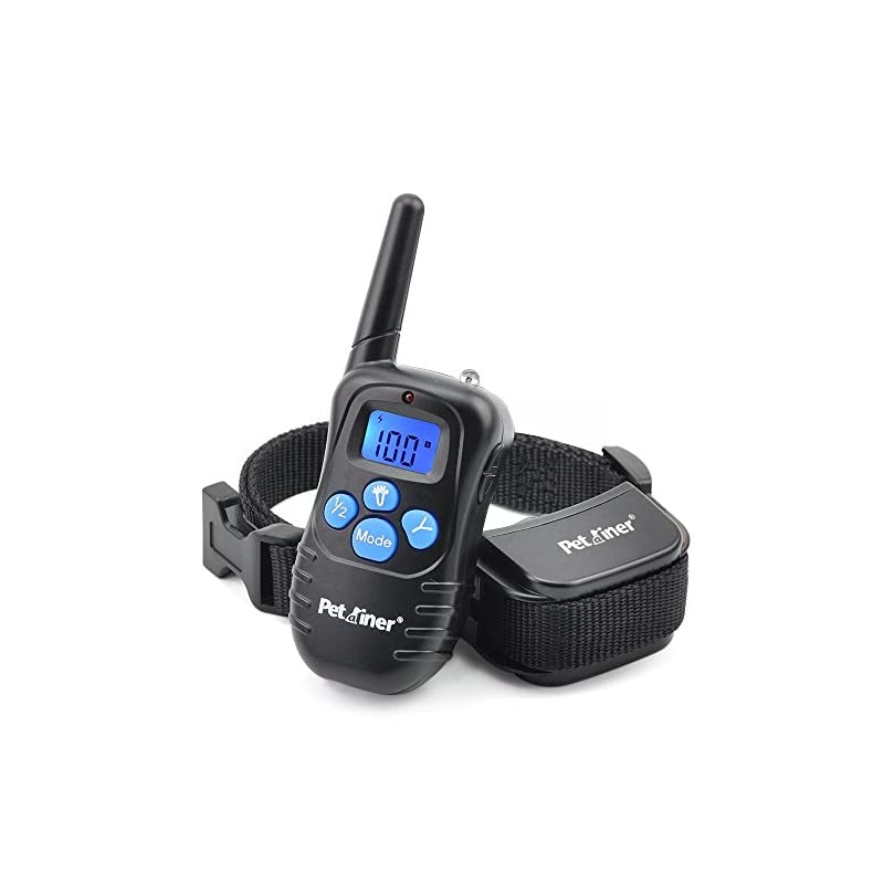 dog supplies online petrainer pet998drb1 dog training collar rechargeable and rainproof 330 yd remote dog training collar with beep, vibra and static electronic collar
