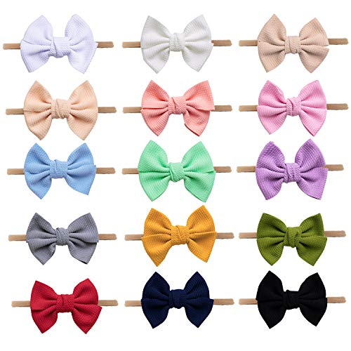 Headbands For Baby Girls 15 Pcs,Baby Girl Bows Elastic Band Stretches Toddler Headbands Hair Bows Hair Accessories (Single Bow-15 colors black white Red pink blue Beige grey purple etc)