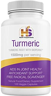 Turmeric with Black Pepper, Natural Nutritional Supplement, 1500 mg Curcumin Bioperine, Antioxidant, Anti-Inflammatory, Ve...