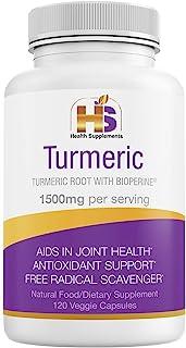 Turmeric with Black Pepper, Natural Nutritional Supplement, 1500 mg Curcumin Bioperine, Antioxidant, Anti-Inflammatory, Ve...