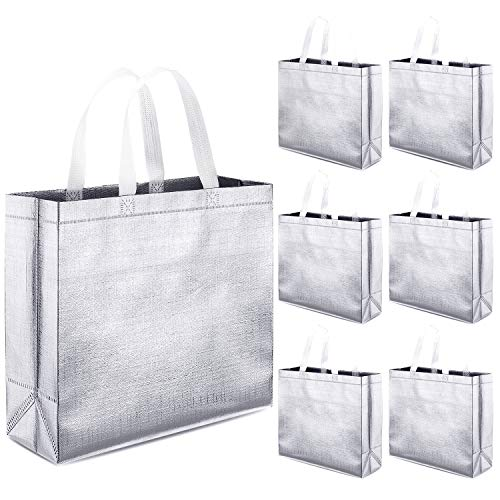 Whaline Set of 12 Glossy Reusable Grocery Bag Tote Bag with Handle(Silver)