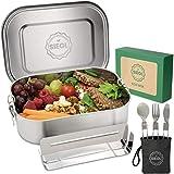 SIEGL® Eco Lunchbox | Premium Set | Brotdose Edelstahl mit GRATIS Besteckset | Auslaufsichere Brotdose mit Unterteilung für Kinder & Erwachsene | 1400ml