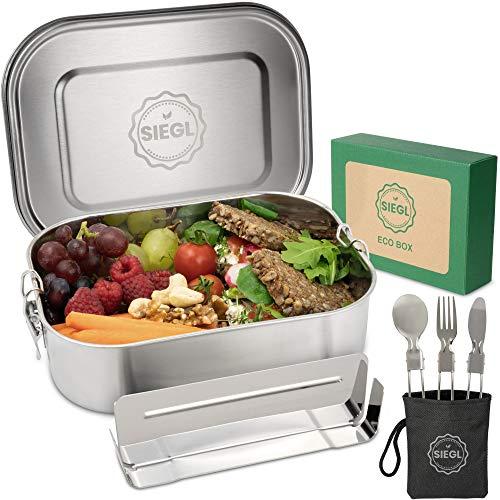 SIEGL® Eco Lunchbox | Premium Set | Edelstahl Brotdose mit Besteck | Dichte Metall Brotdose mit Trennwand | Brotbox für Kinder & Erwachsene | 1400ml