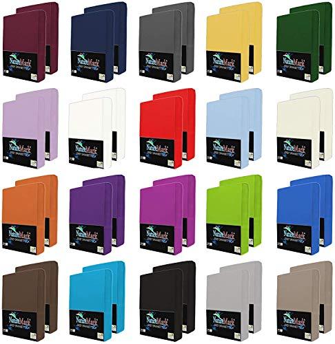 NatureMark 2er Pack Jersey Spannbettlaken, Spannbetttuch 100% Baumwolle in vielen Größen und Farben MARKENQUALITÄT ÖKOTEX Standard 100 | 90 x 200 cm - 100 x 200 cm -Hellblau/Royal