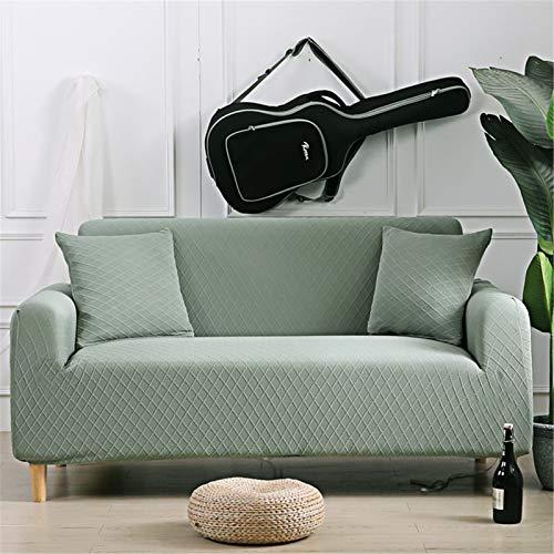 Cubiertas de sofá de malla Protector Jacquard Super Stretch Scouch Funda 3 plazas con tiras de espuma antideslizante y banda elástica, perfecto para decoración del hogar,Verde,2seater