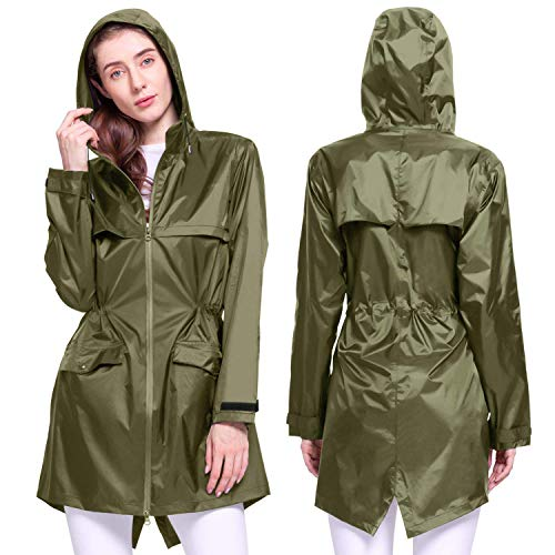 Kansoom Chubasquero de Mujer (Verde del ejército, XL)