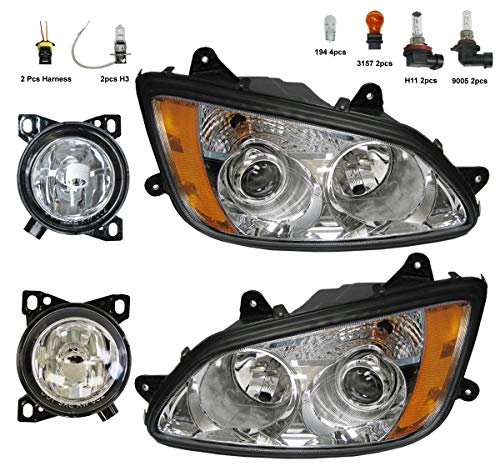 4 Item Combo - Headlight with Fog Lamp - Driver and Passenger Side (Fit: Kenworth T660)