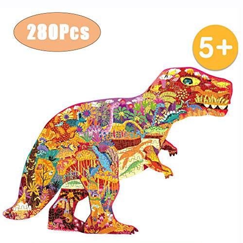 WOGQX Rompecabezas De Madera (Dinosaurio), Kits De Modelos Planos De Bricolaje para Adultos/Niños (5+), Juguetes Educativos, Juegos De Ingenio, con Piezas De 280 Piezas