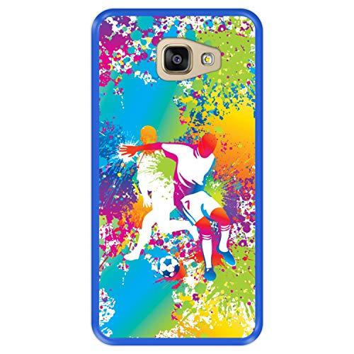 Hapdey Funda Azul para [ Samsung Galaxy A5 2016 ] diseño [ Abstracto, Jugadores de fútbol Multicolores ] Carcasa Silicona Flexible TPU