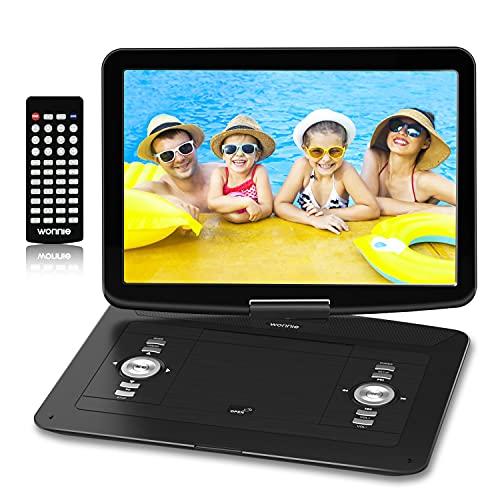 Reproductor de DVD 17' para Coche, WONNIE DVD Portátil para Niños, Pantalla Giratoria con 6 Horas Batería Recargable, Compatible con SD/USB, Sincronizar con TV