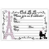 Paris Party Invitations (20 Count) With Envelopes