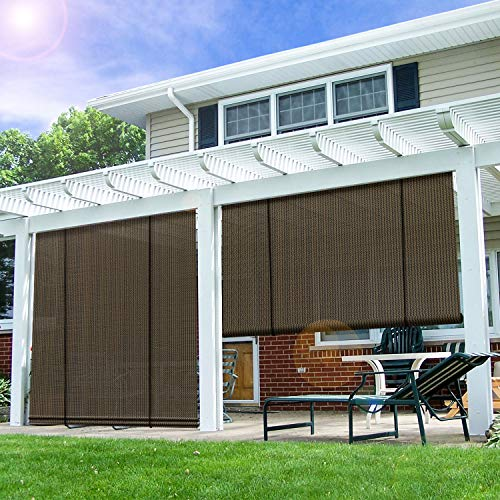 E&K Sunrise Roll up Shade Roller Shade 7'Wx6'H Porch Pergola Privacy Screen Roll up Blinds Sun Shade for Deck Gazebo Patio Back Yard Outdoor Sun Shade Brown