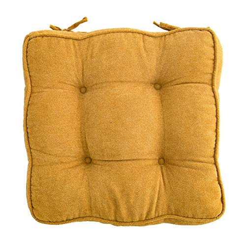 vctops Velvet Chair Pads Super Soft Thicken Chair Cushion with Ties Tufted Design Seat Pads Cushion Pillow for Office,Home or Car Sitting (Yellow,18'x18')