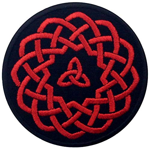 Celtic Knot Circle Patch Embroidered Applique Iron On Sew On Emblem, Red & Black