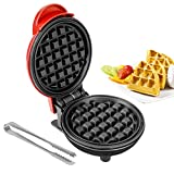 Mini Waffle Maker with Stainless Steel Tongs, Baking Tools Household Paninis, Easy Clean, Non-Stick Sides