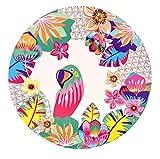Les Jardins de la Comtesse – Juego de 4 platos de postre planos de bambú – tema «loros» – Muy resistentes – Ø 20 cm – Multicolor – Biodegradables y sin BPA y PVC