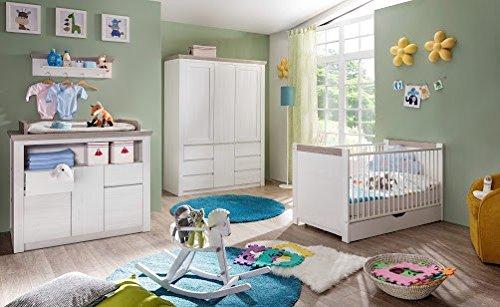 Beauty.Scouts Babyzimmer Set \'Mia A\', Babyzimmerkombination,Babyzimmer komplett,Babybett,Wickelkommode,Kleiderschrank,Pinie Struktur weiß