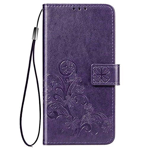 Wallet Case Compatible for iPhone 11 Pro Max (6.5 inch) 2019 Luxury ID Flower Floral Credit Card Slots Holder [Hand Strap] [Stand Feature] Carrying Pouch Folio Flip PU Leather Cover Lanyard - Purple