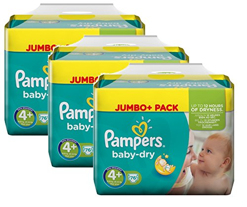 Pampers Baby Dry Größe 4+ Maxi Plus 9-20kg Jumbo Plus Pack, 3er Pack (3 x 76 Windeln)