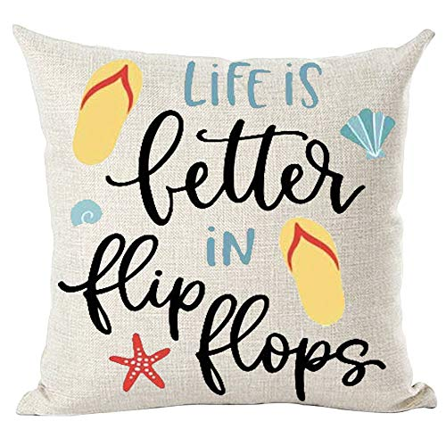 ramirar Blue Black Word Art Quote Life is Better in Flip Flops Summer Decorative Throw Pillow Cover Case Cushion Home Living Room Bed Sofa Car Cotton Linen Square 18 x 18 Inches