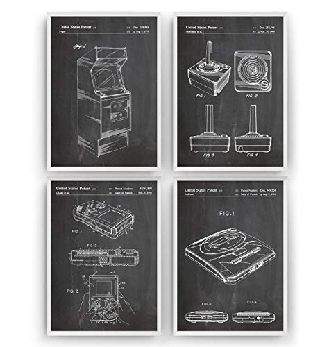 Gamer Patent Poster - Set Of 4 - Gaming Gift Vintage Blueprint Retro Video Games Room Wall Art Bedroom Original Decor Merchandise Classic Old Antique - Frame Not Included