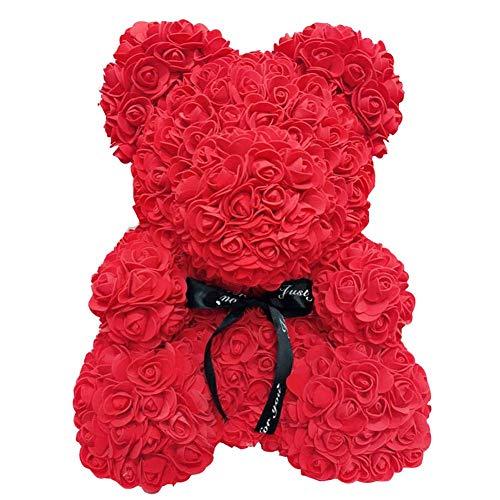 Rote künstliche Rosenbären Ewige Rose Blumen Teddybär Geschenk für Geburtstag,Hochzeit,Valentinstag,Weihnachten Jubiläum (40cm, Rot)
