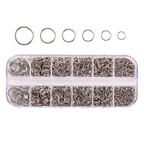 1030 anillos abiertos de 4 a 10 mm de diámetro, multicolor, para hacer joyas, collares, anillos de conexión para collar, plata